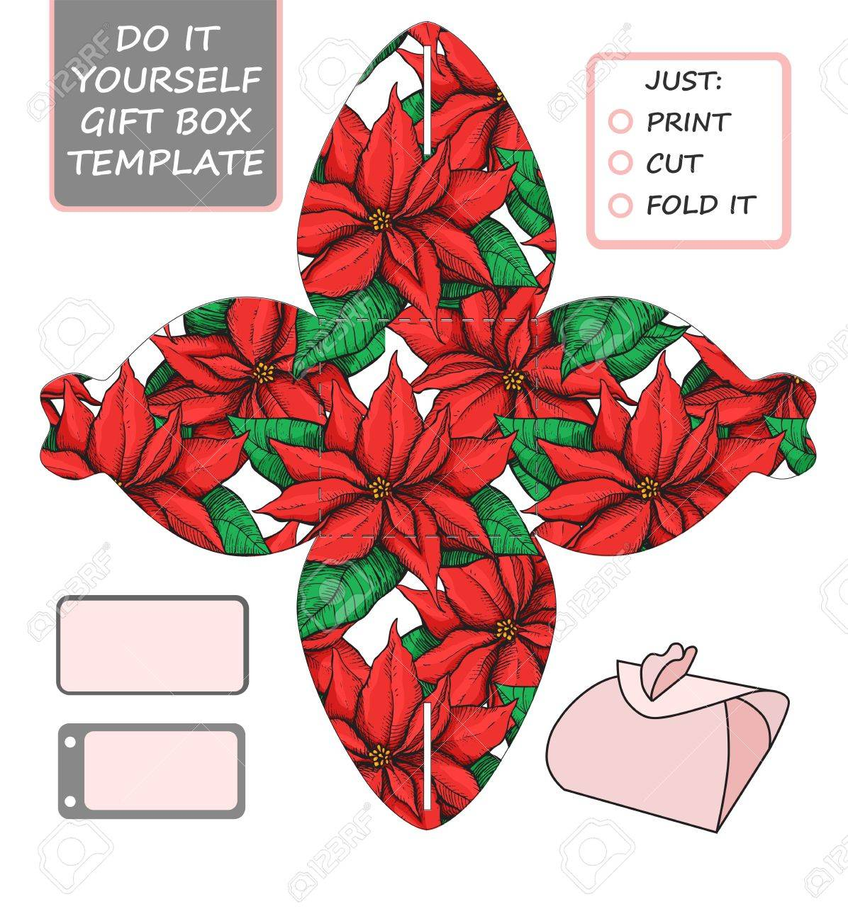Christmas Gift Box Template.Favor Gift Box Die Cut Box Template With Poinsettia Pattern