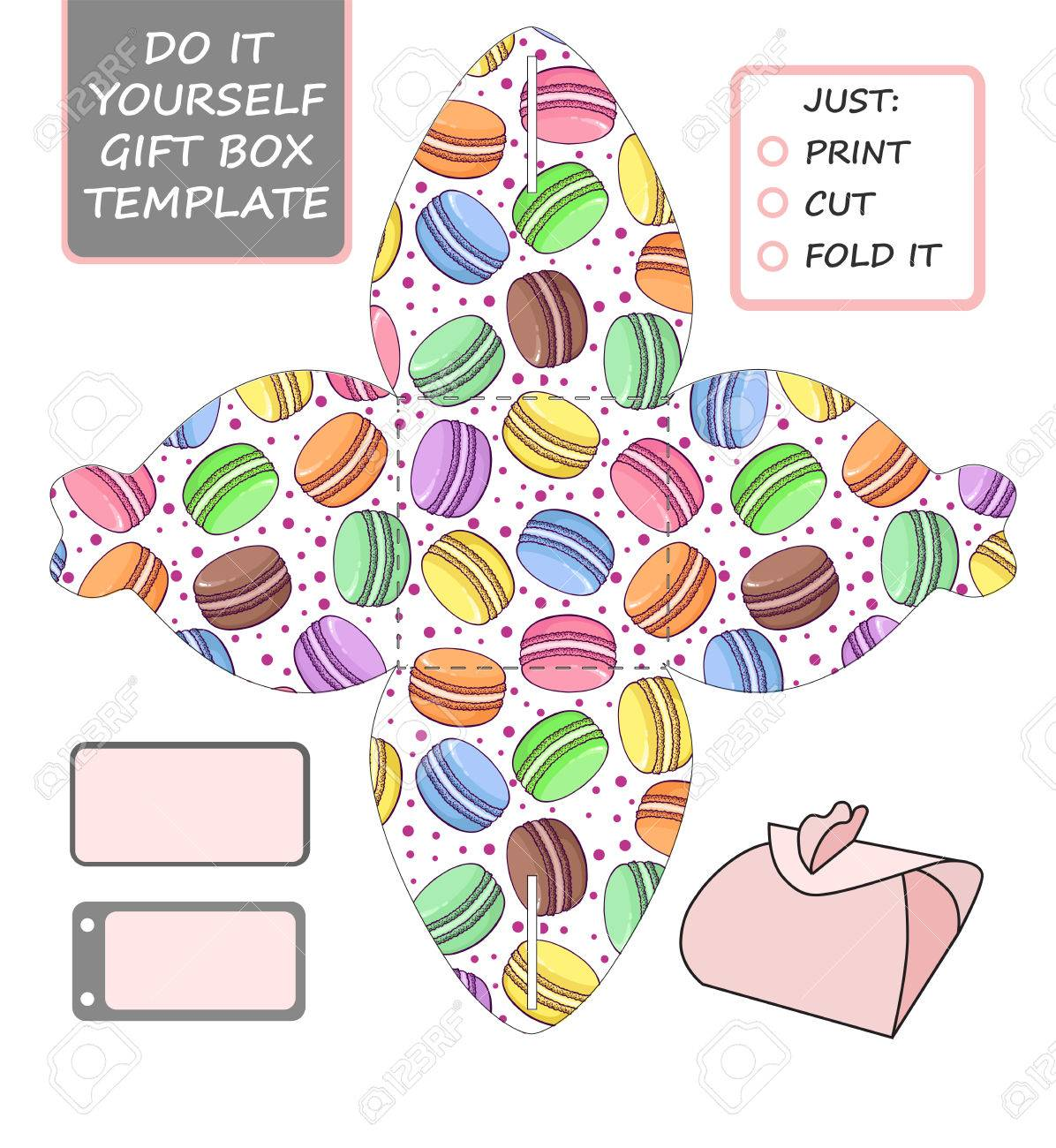 favor gift box die cut box template with macaron pattern