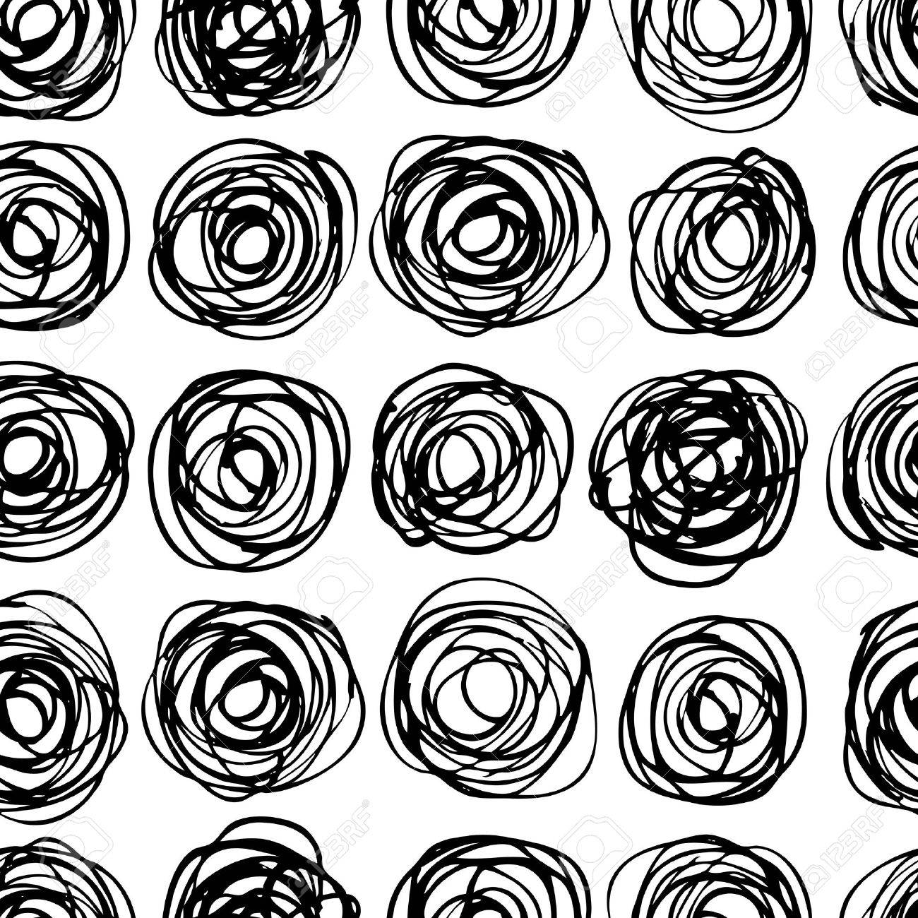 Vector Seamless Trendy Modern Circle Pattern Monochrome Messy