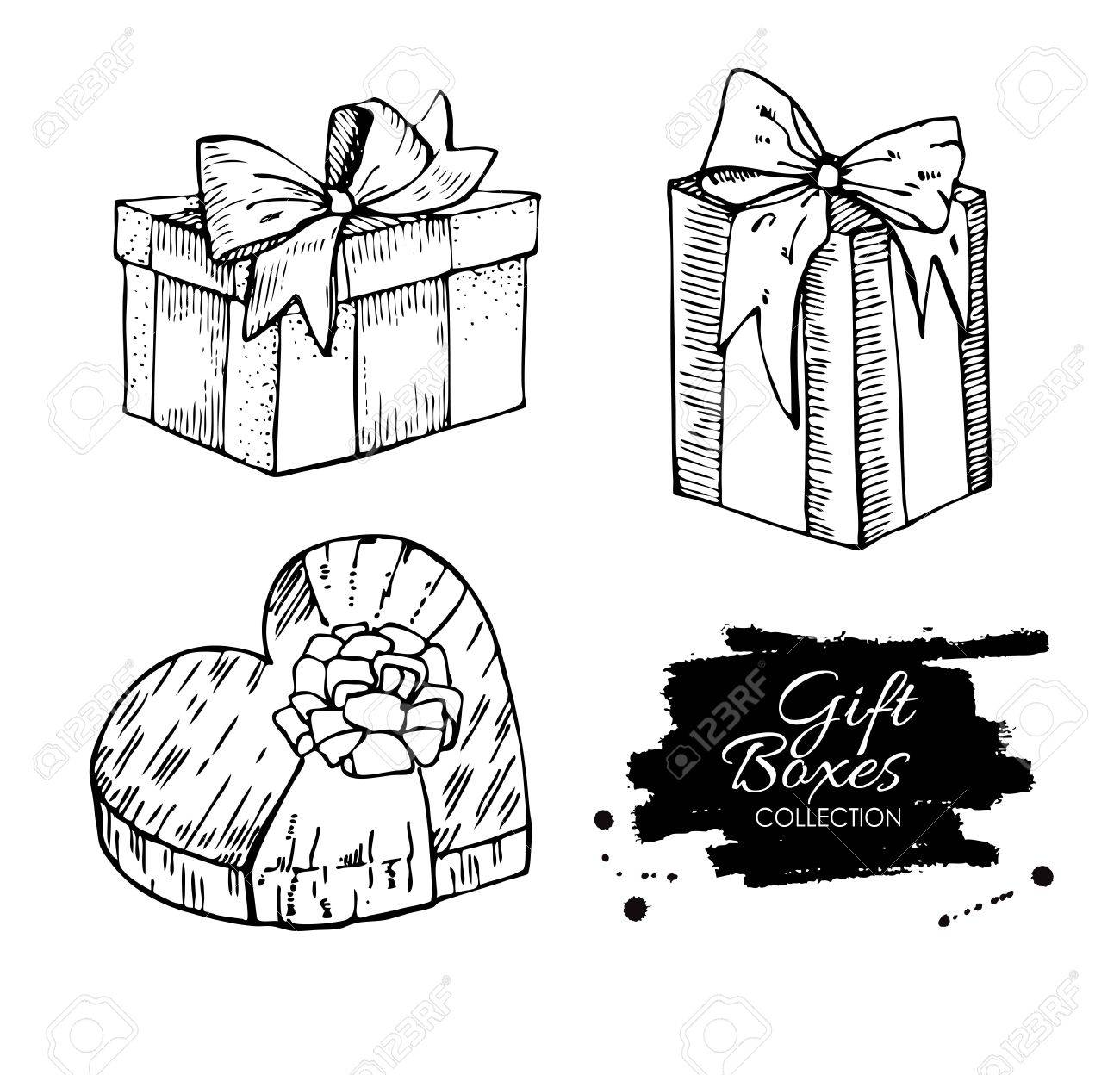 Gift Box Collection Illustrations Great For Birthday Xmas And Valentine Day Stock