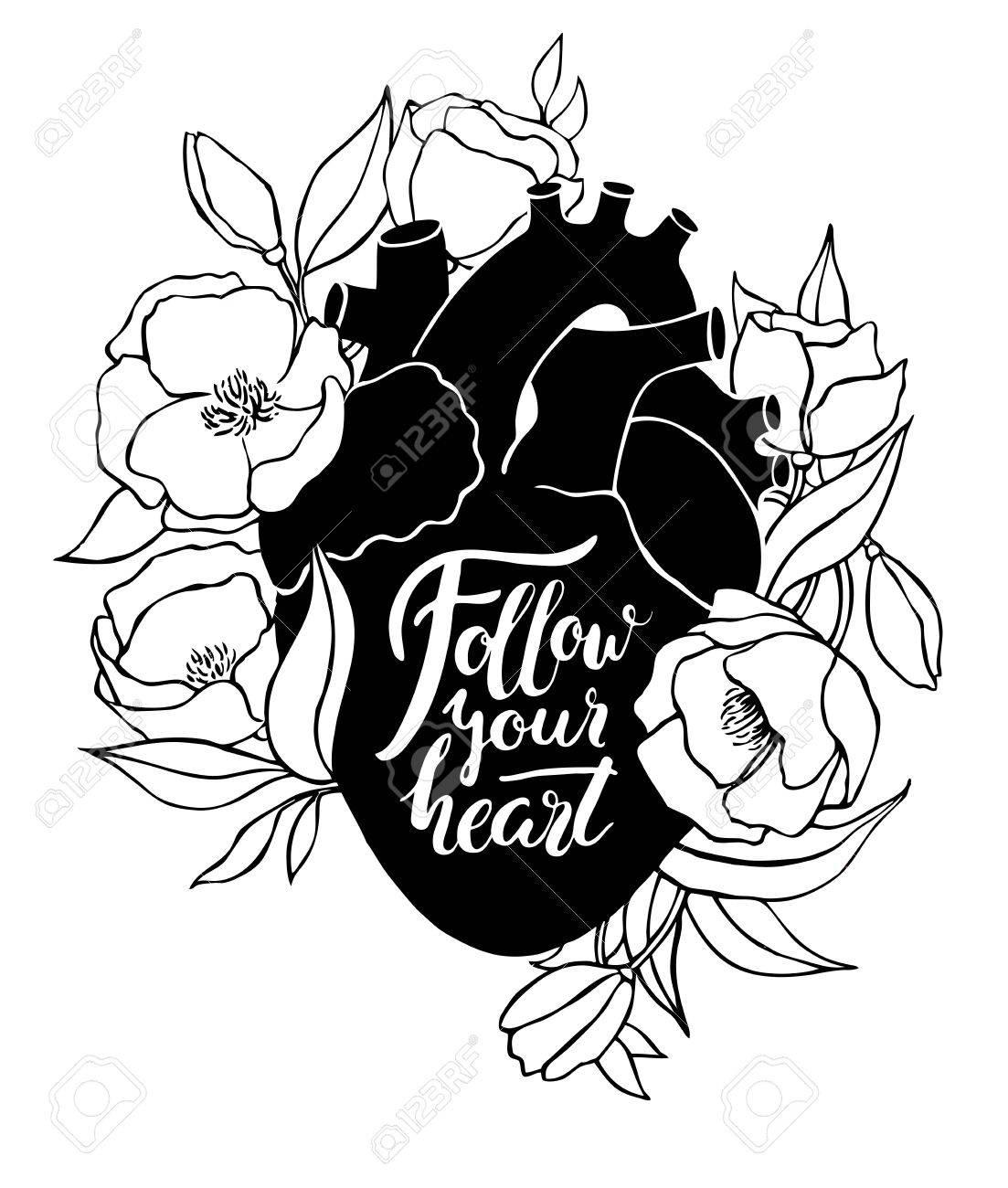 Ilustración Del Corazón Humano Con Las Flores Y Las Letras ...