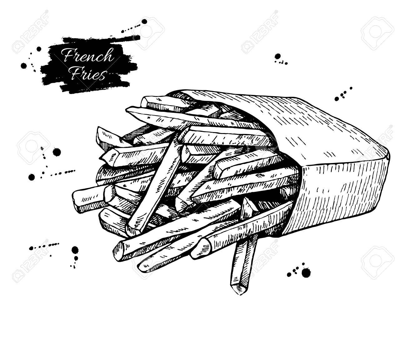 Vector vintage french fries drawing. Hand drawn monochrome fast food illustration. Great for menu, poster or label. - 52421463