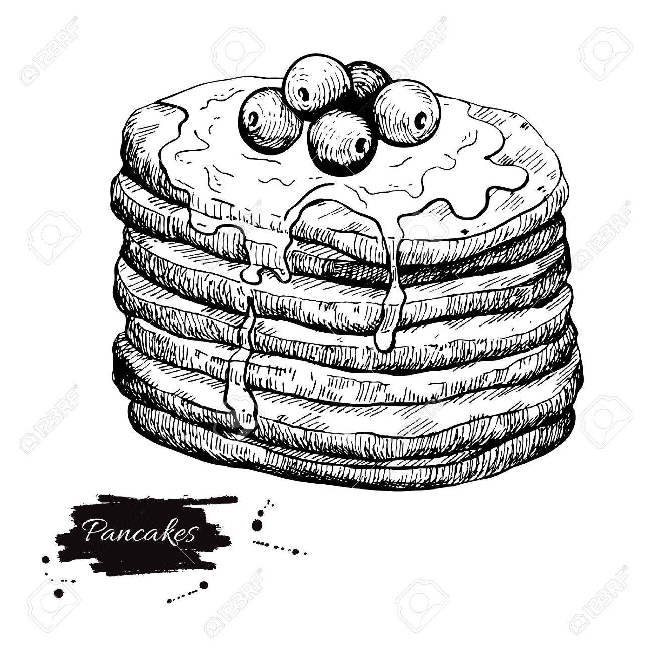 Vector - Vector vintage pancake drawing. Hand drawn monochrome food  illustration. Great for menu, poster or label.