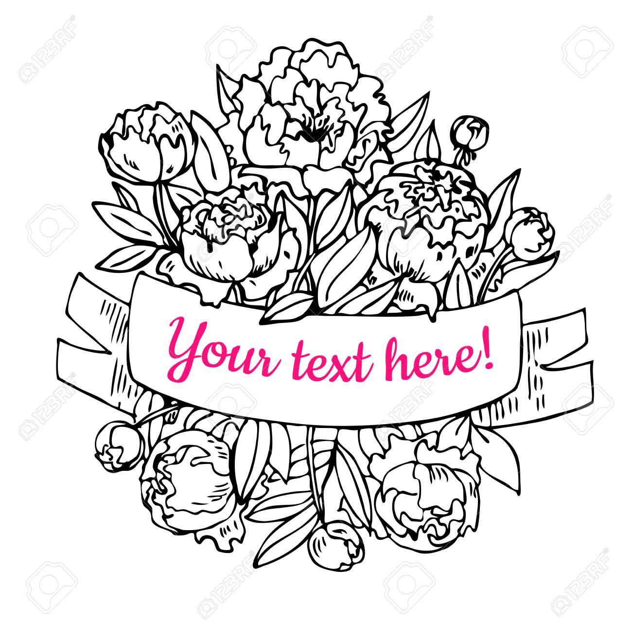 ベクトルの手には牡丹花束リボン イラストが描かれましたフラワー