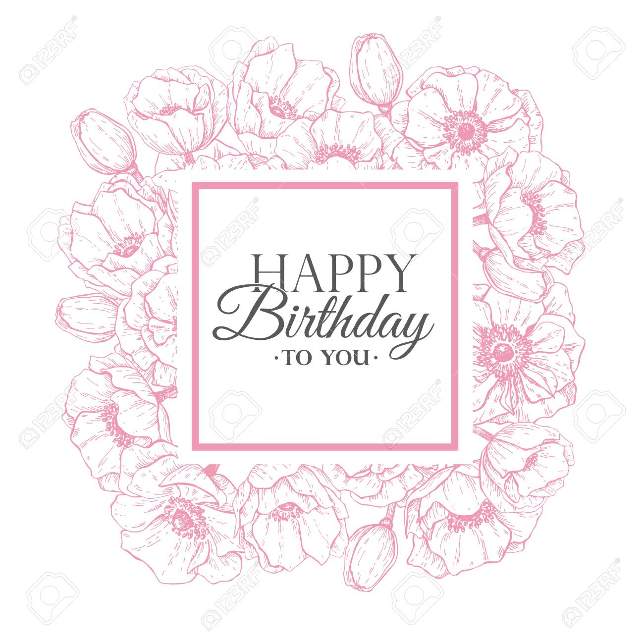 Vector Happy Birthday Flower Illustration Hand Drawn Vintage Anemone Frame Birthday Card With Flowers And Lettering Typography Message Great For