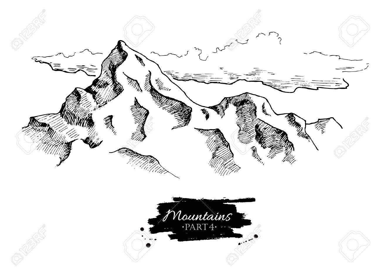 Vector mountains drawing. Hand drawn mountains illustrations. Great for travel, hiking, tourism, trekking business promoting. - 54859315