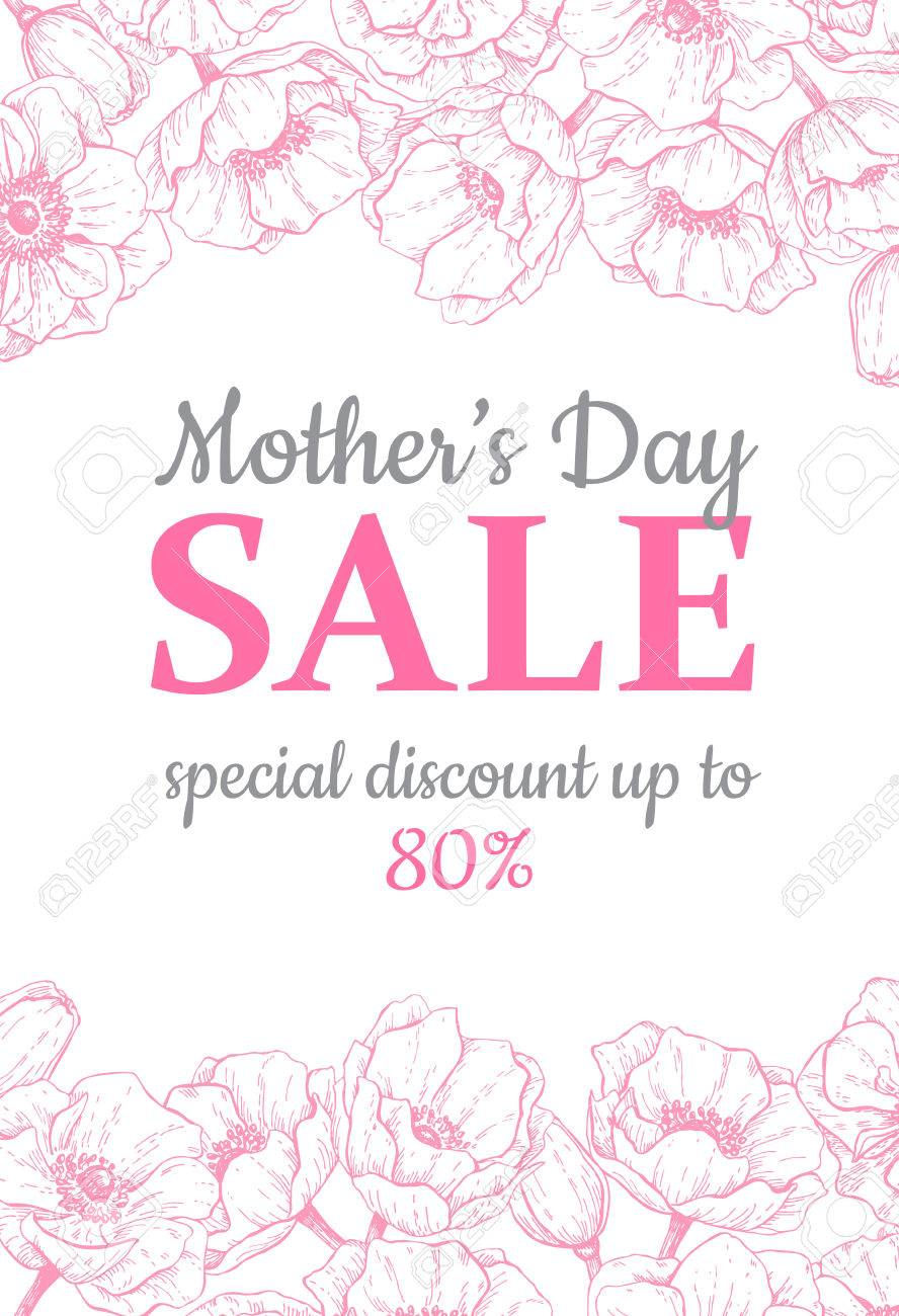 Mothers Day Sale Illustration Detailed Flower Drawing Great Banner Flyer Poster