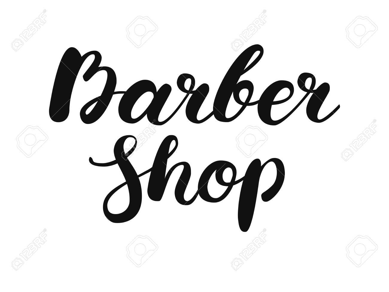 Lettrage De Pinceau Manuscrite Barber Shop Calligraphie Pour