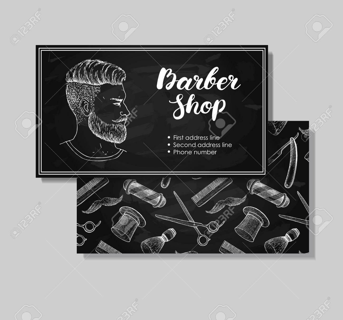 Vector Vintage Hand Drawn Barber Shop Business Cards. Detailed ...