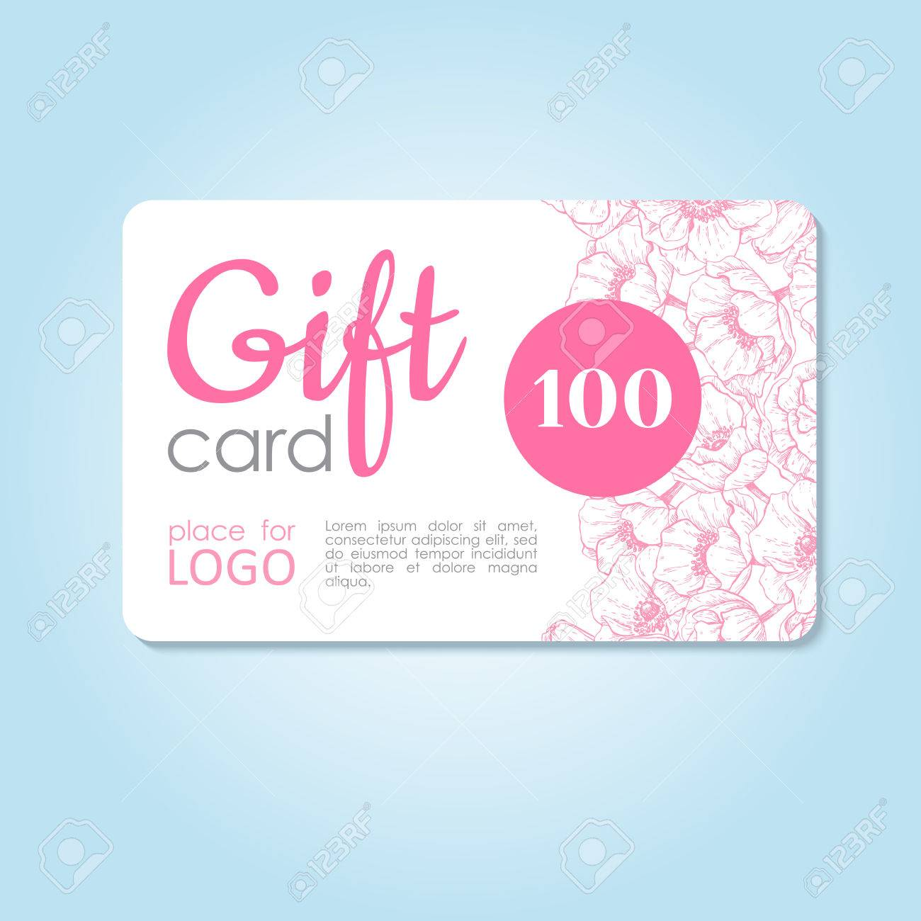 Gift Card. Business Discount Template With Delicate Flowers In ...