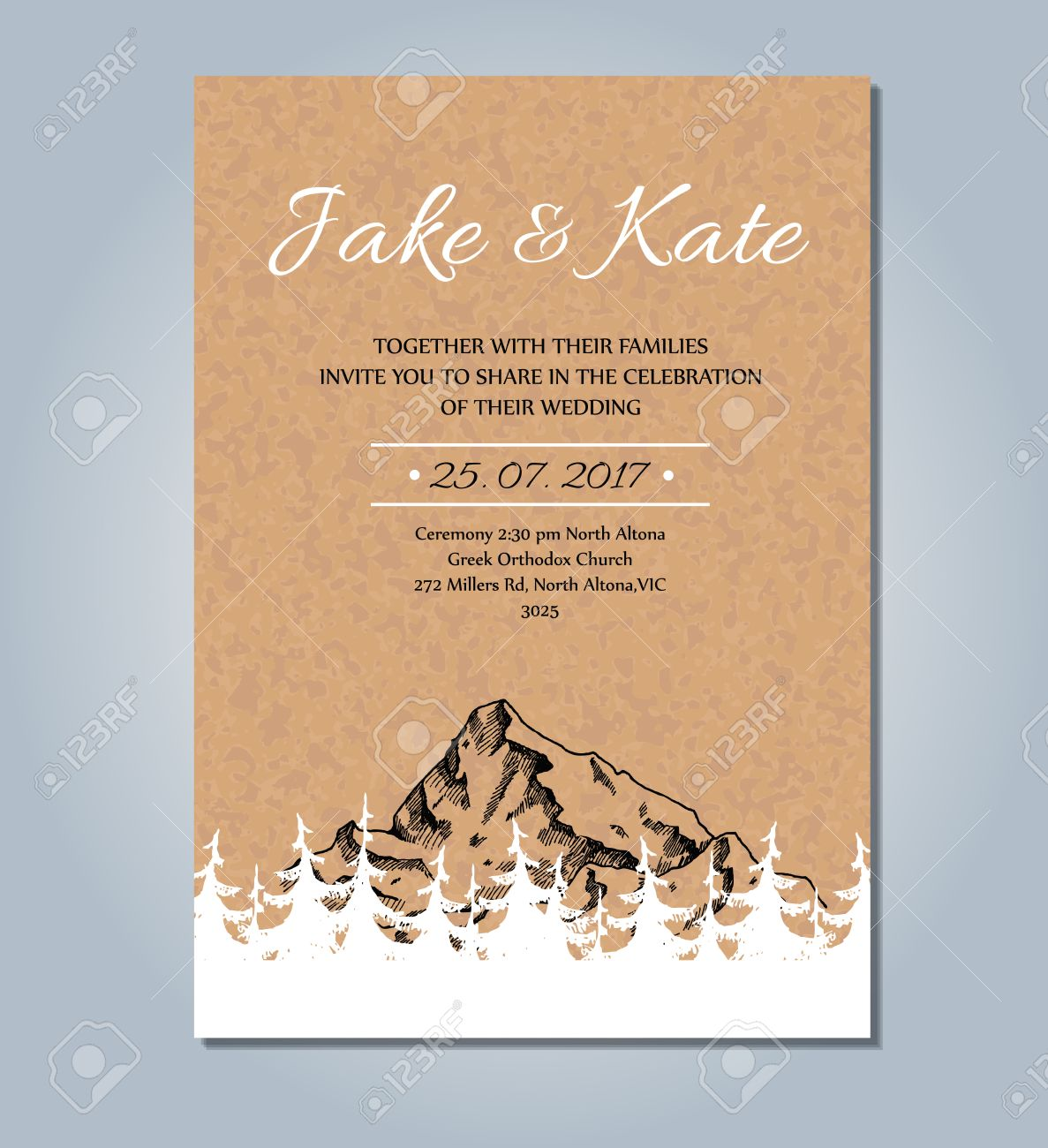 Mountain wedding invitation vector rustic card template wedding mountain wedding invitation vector rustic card template wedding card sketch illustration with mountain and stopboris Image collections