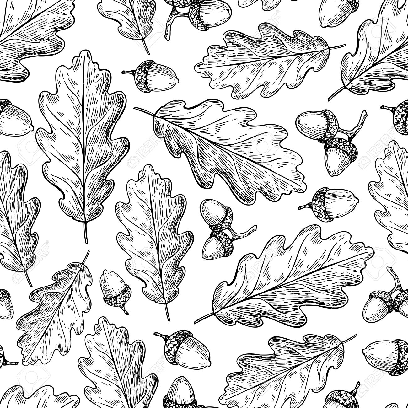 Seamless Vector Pattern With Autumn Leaves. Oak Leaf And Acorn ...