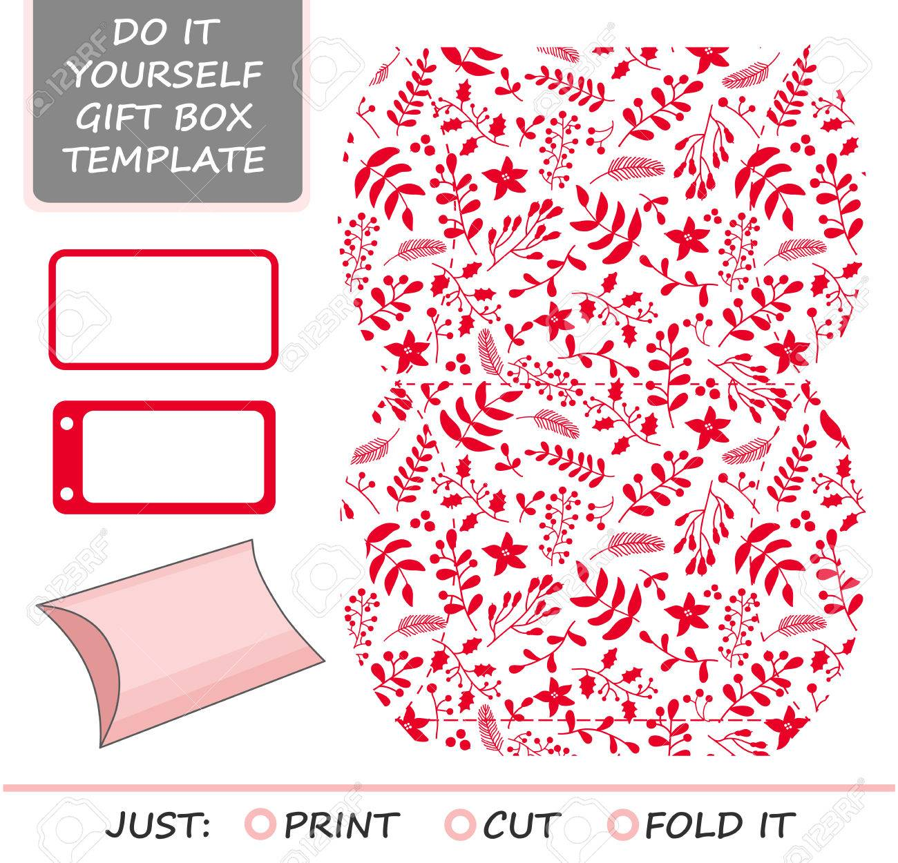 Christmas Vector Gift Packaging Template Favor Gift Box Die Cut