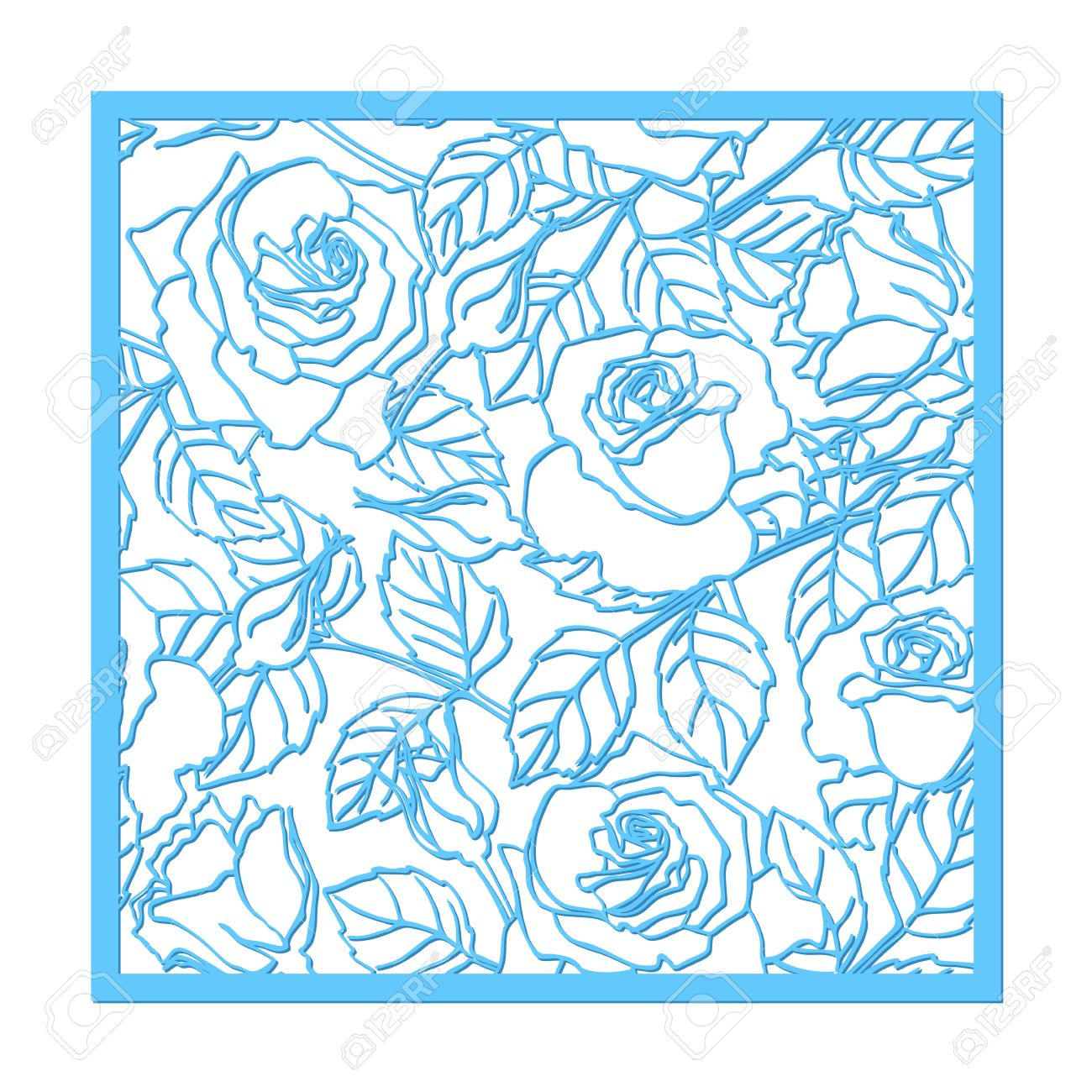 laser cut vector rose ornament cutout pattern silhouette with