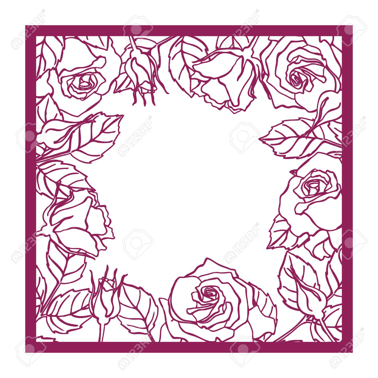 Laser cut vector rose square frame Cutout pattern silhouette with flower and leaves Die cut paper element for wedding invitations, save the date, greeting card. Square botanical cutting template panel - 63654494