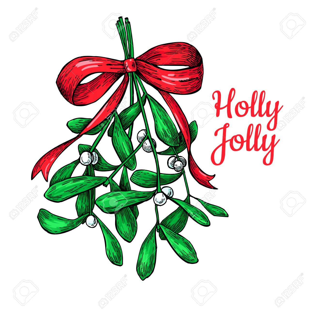mistletoe with bow and ribbon christmas card with decor plant