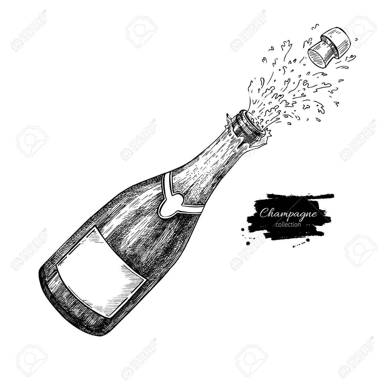 Bouteille De Champagne Dessin bouteille de champagne explosion. hand drawn illustration isolé