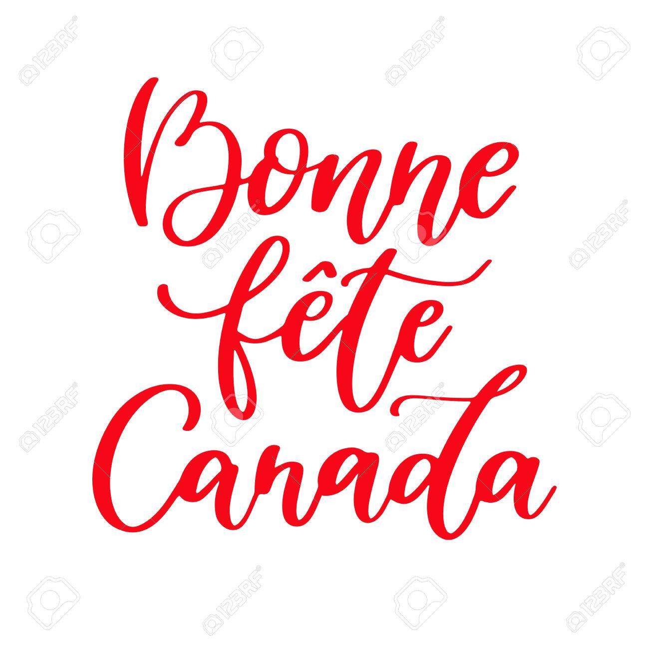 Clipart Bonne Fête happy canada day vector card in french. bonne fete canada