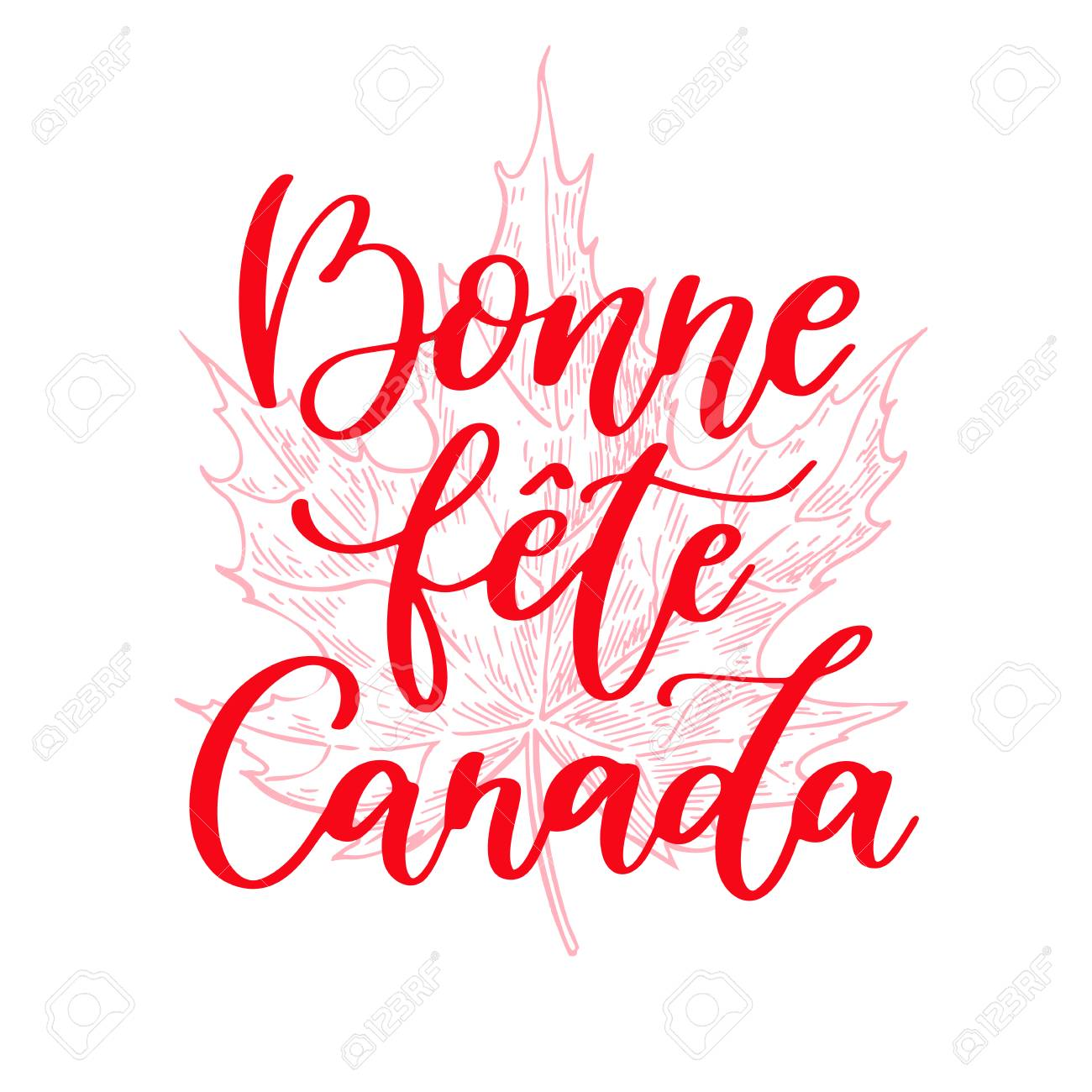 Happy Canada day vector card in french. Bonne fete Canada. Handwritten lettering with maple. Calligraphy sticker. Great for banner, poster, sale, card - 79083009