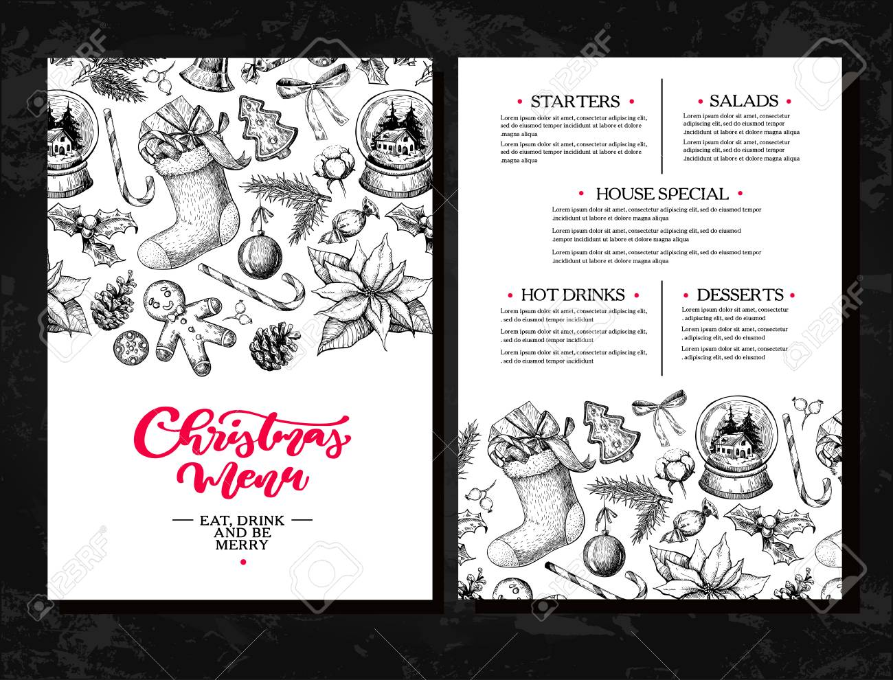 christmas menu design royalty free cliparts vectors and stock