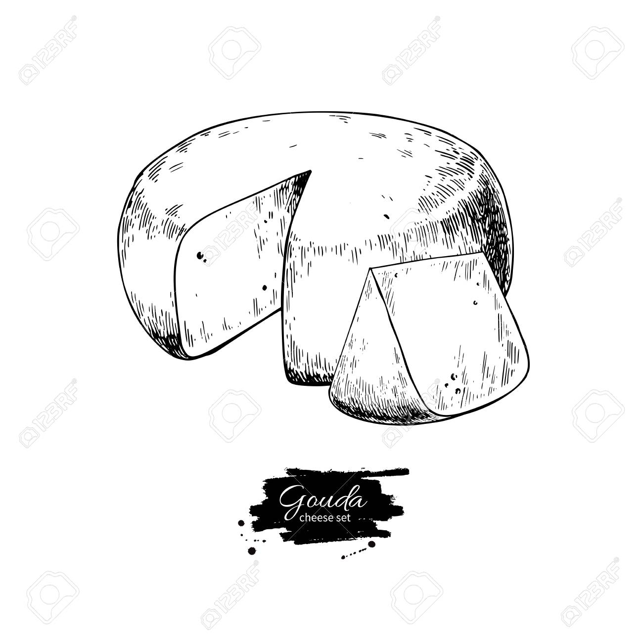 Gouda cheese block drawing. Vector hand drawn food sketch. Engraved Slice cut. - 94176463