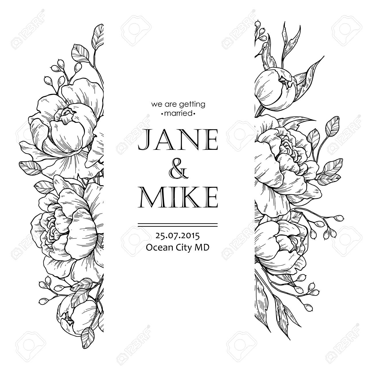 Flower vintage border. Vector peony and roses botanical drawing. Isolated sketch. Engraved bouquet with leaves and berries. Wedding invitation, label template, anniversary card design - 98861560