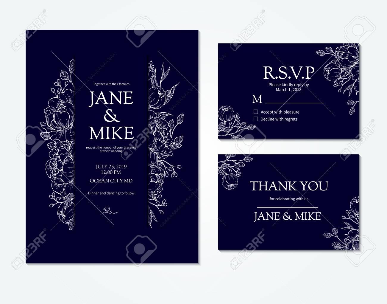 Dark Blue Wedding Invitation Card Template With Vector Peony