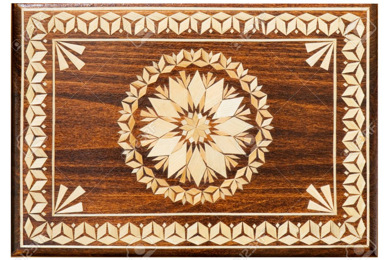 wooden box decorated with a pattern of straw Stock Photo - 21217933