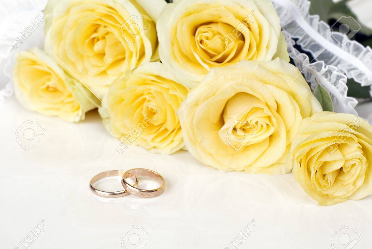 Bouquet Of Yellow Roses And Wedding Rings On A White Background Stock Photo 21850660: Yellow Roses Wedding Rings At Reisefeber.org