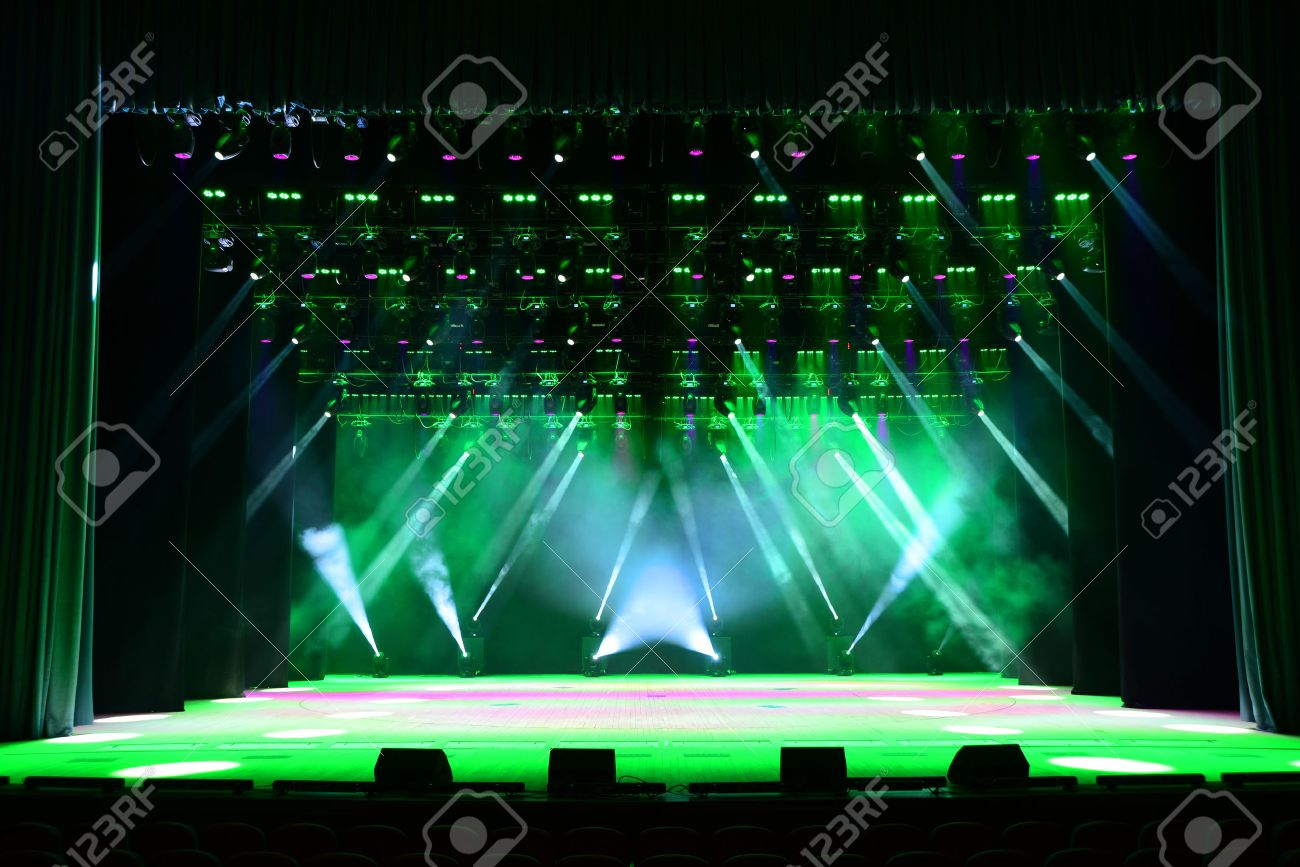 Empty outdoor rock stage - Empty Stage Illuminated Empty Concert Stage With Smoke