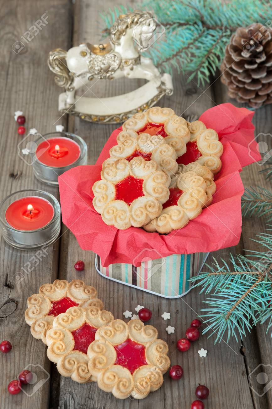 Sweet Cookies With Jam Fir Branches And Cones Cranberries Stock Photo Picture And Royalty Free Image Image 47087709
