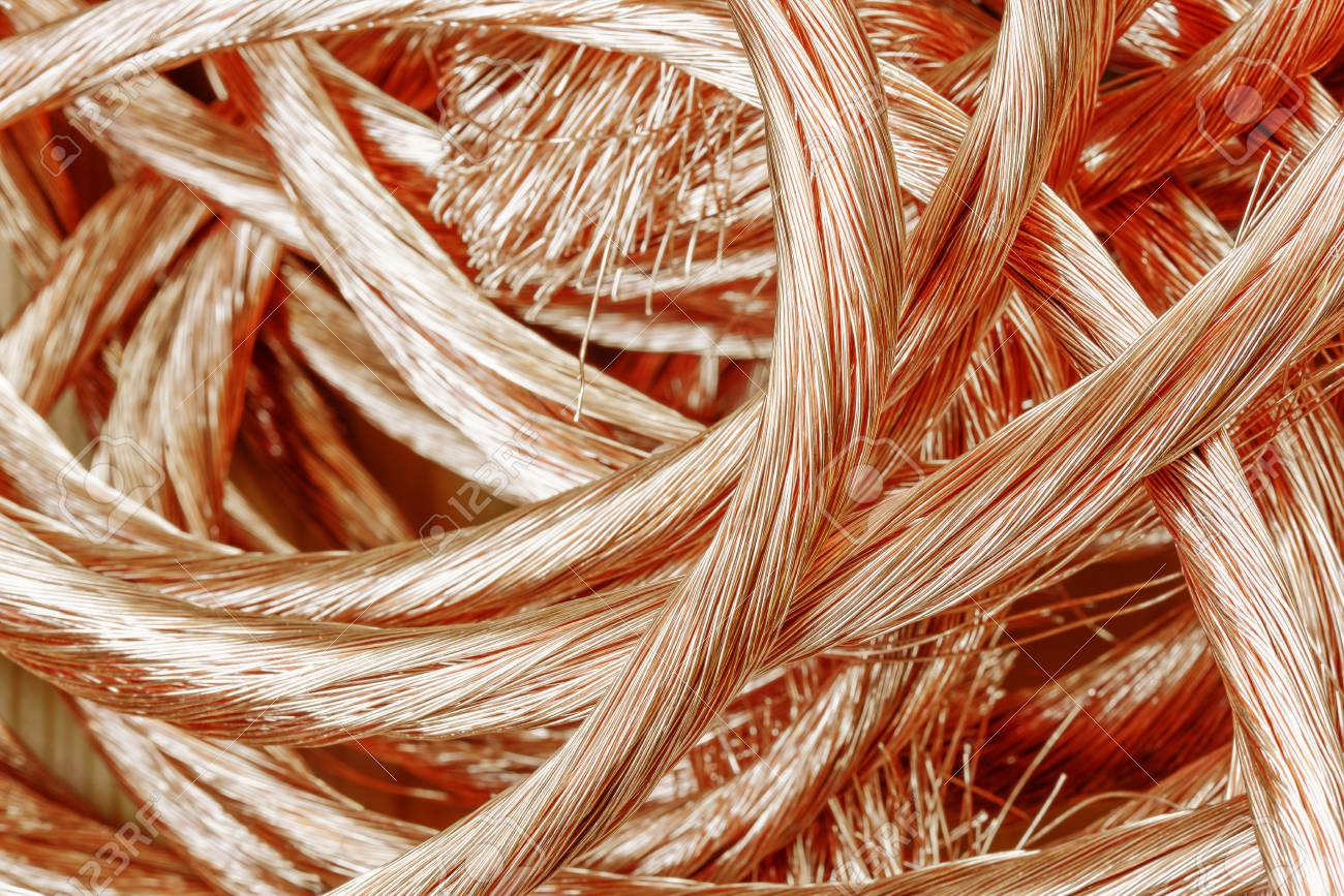 Big Pile Of Recycling Material - Copper Wire Close-up Stock Photo ...