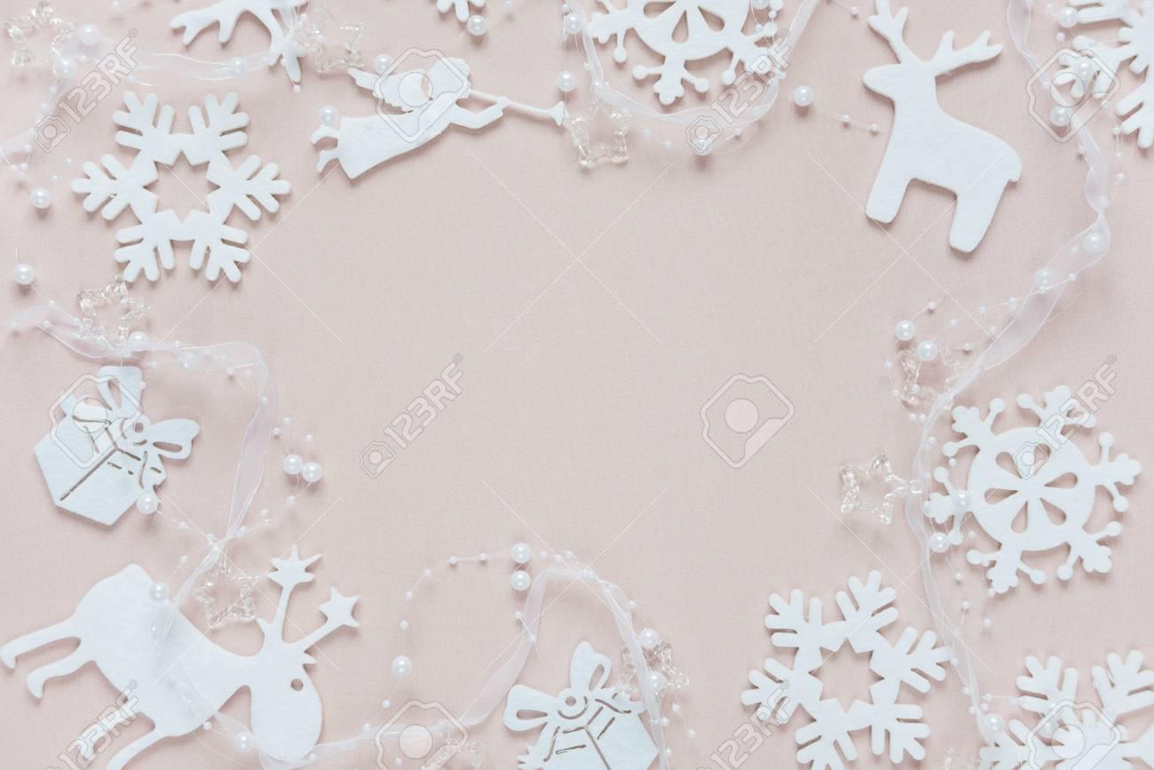 Christmas Frame Composed Of White Christmas Decoration: Snowflakes ...