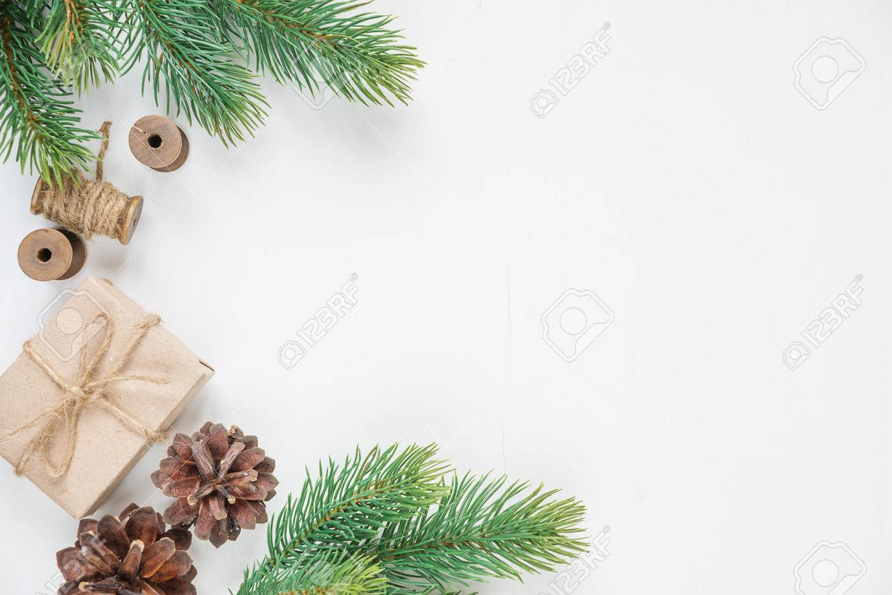 Christmas Frame, Consisting Of Fir Branches, Cones And Gift Boxe ...