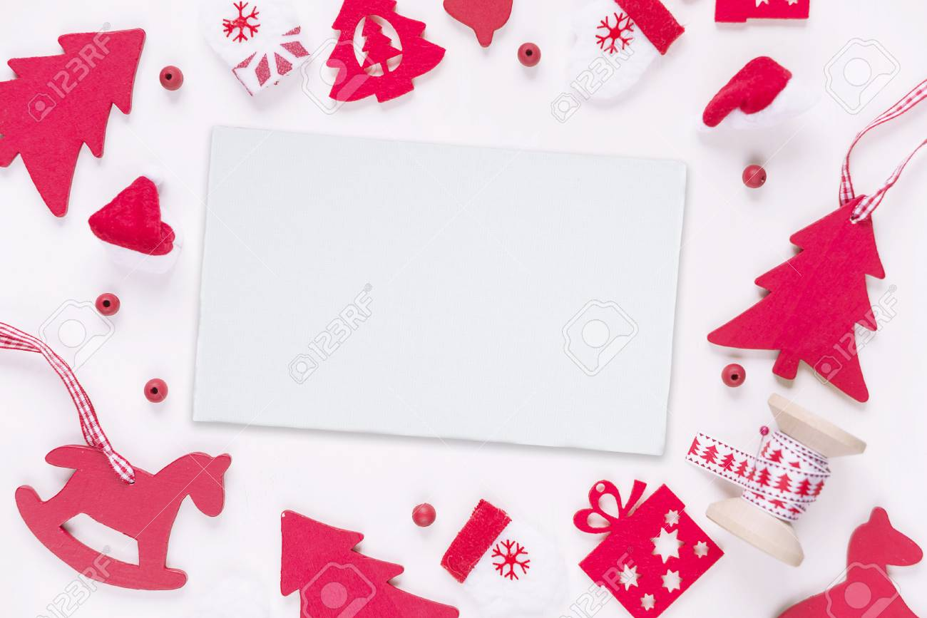 Christmas Greeting Card Composed Of Red Christmas Decoration ...