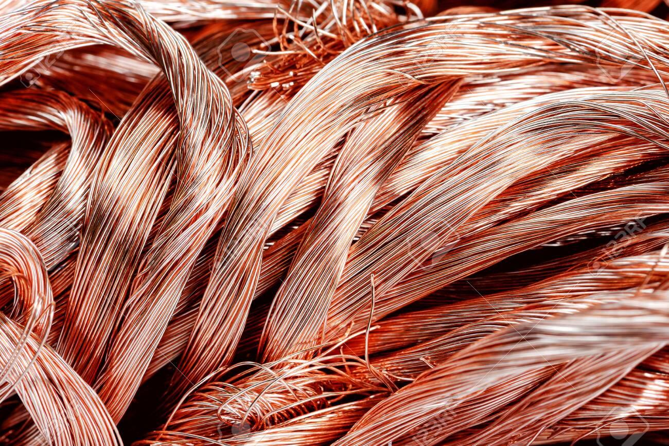 Big pile of scrap-metal copper wire close-up - 135091044