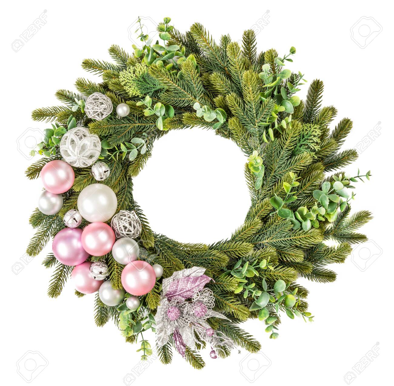 Traditional European Christmas Wreath Of Green Spruce And Eucalyptus Stock Photo Picture And Royalty Free Image Image 140262678
