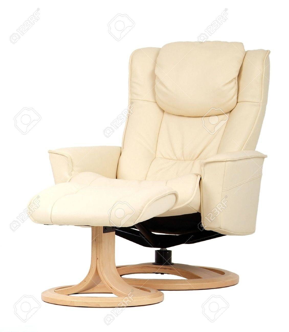 Outstanding Off White Leather Recliner Chair With Matching Footstool Perspective Machost Co Dining Chair Design Ideas Machostcouk