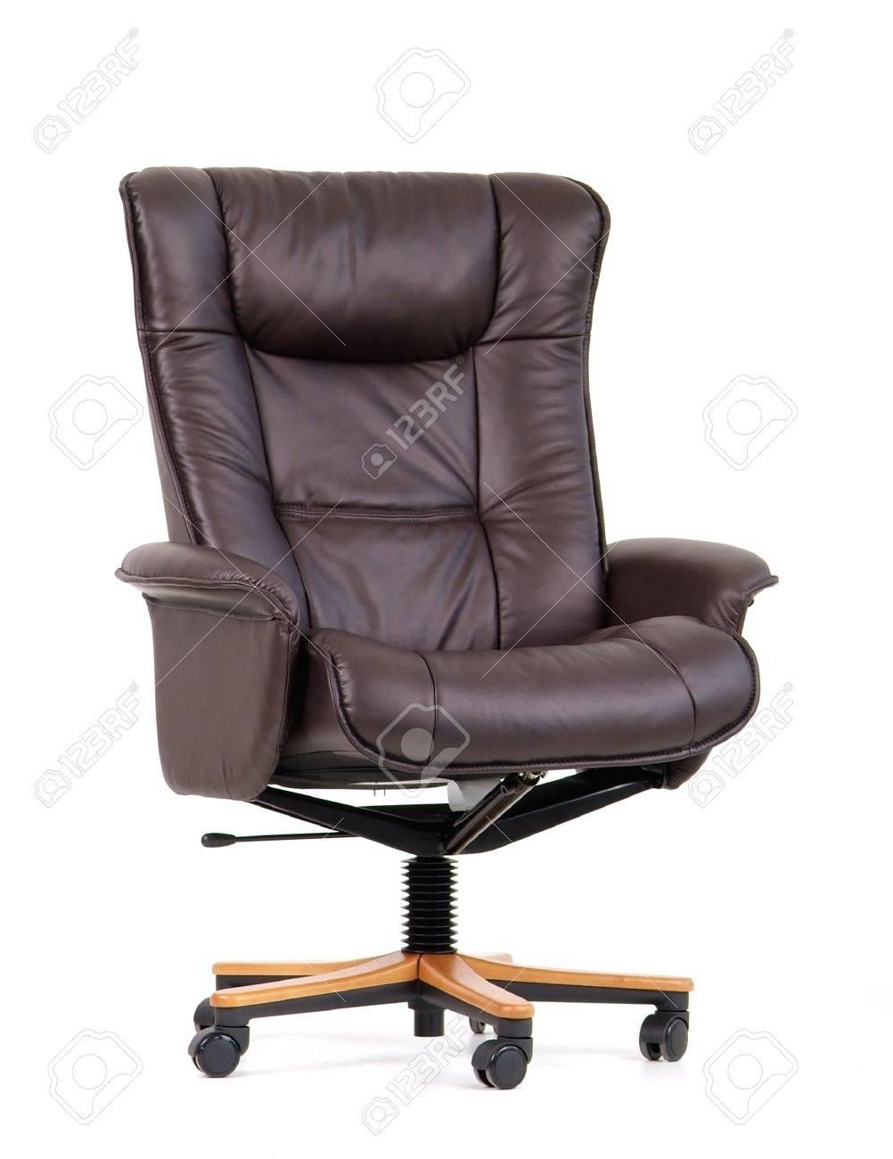 Luxe Leren Bureaustoel.Zwart Lederen Luxe Bureaustoel Geisoleerd Op Wit Royalty Vrije