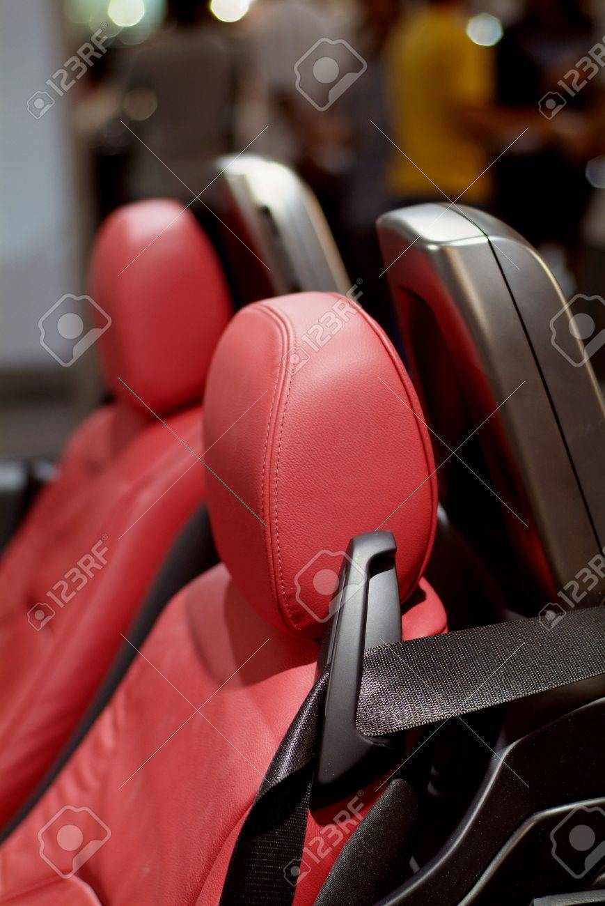 Detail Of Red Leather Seats German Convertible Sports Car Stock Photo