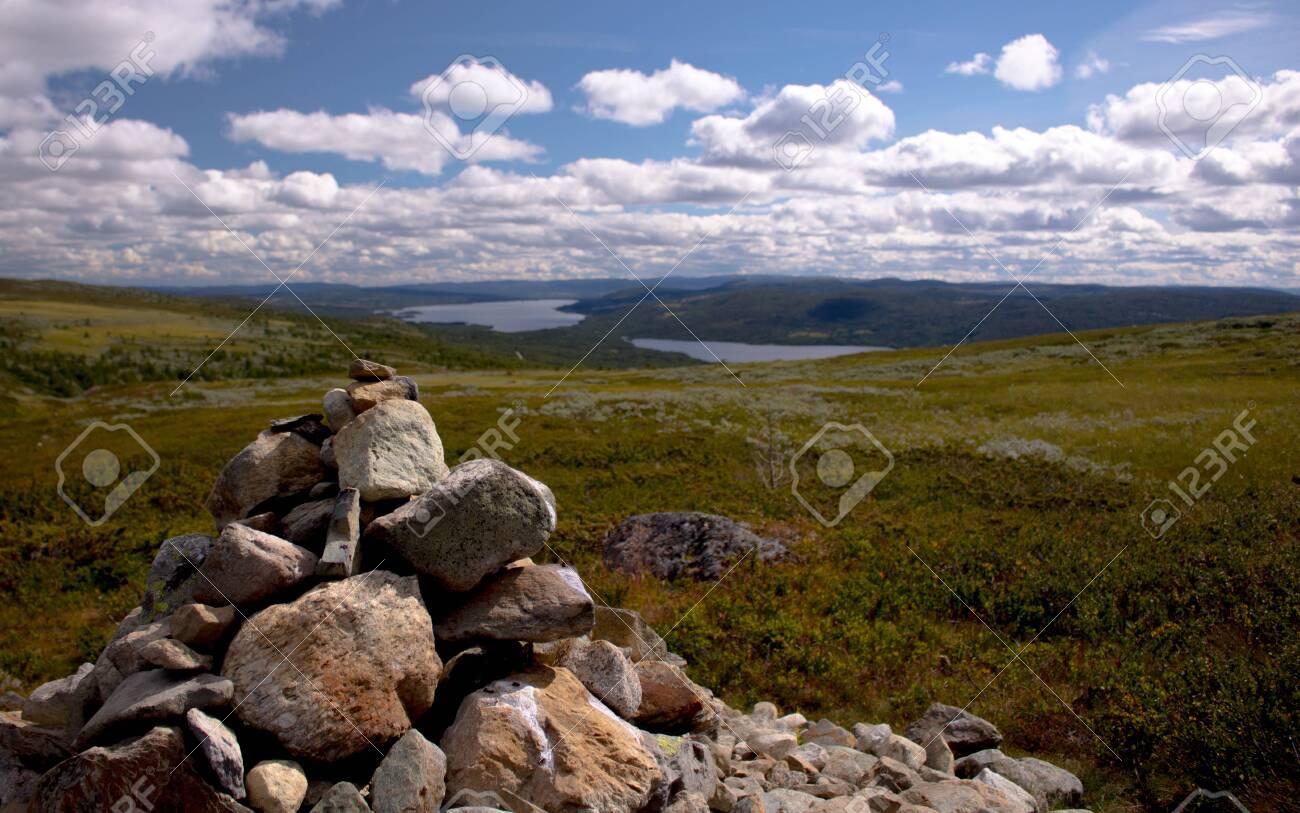 Cairn Pile Of Rocks On Skogshorn Mountain In Hemsedal Norway