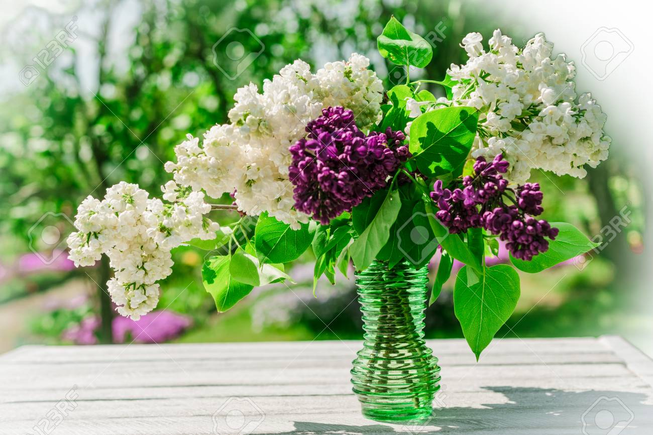 Lilac Flowers On Wooden Table Im Garden Copy Space Good Morning