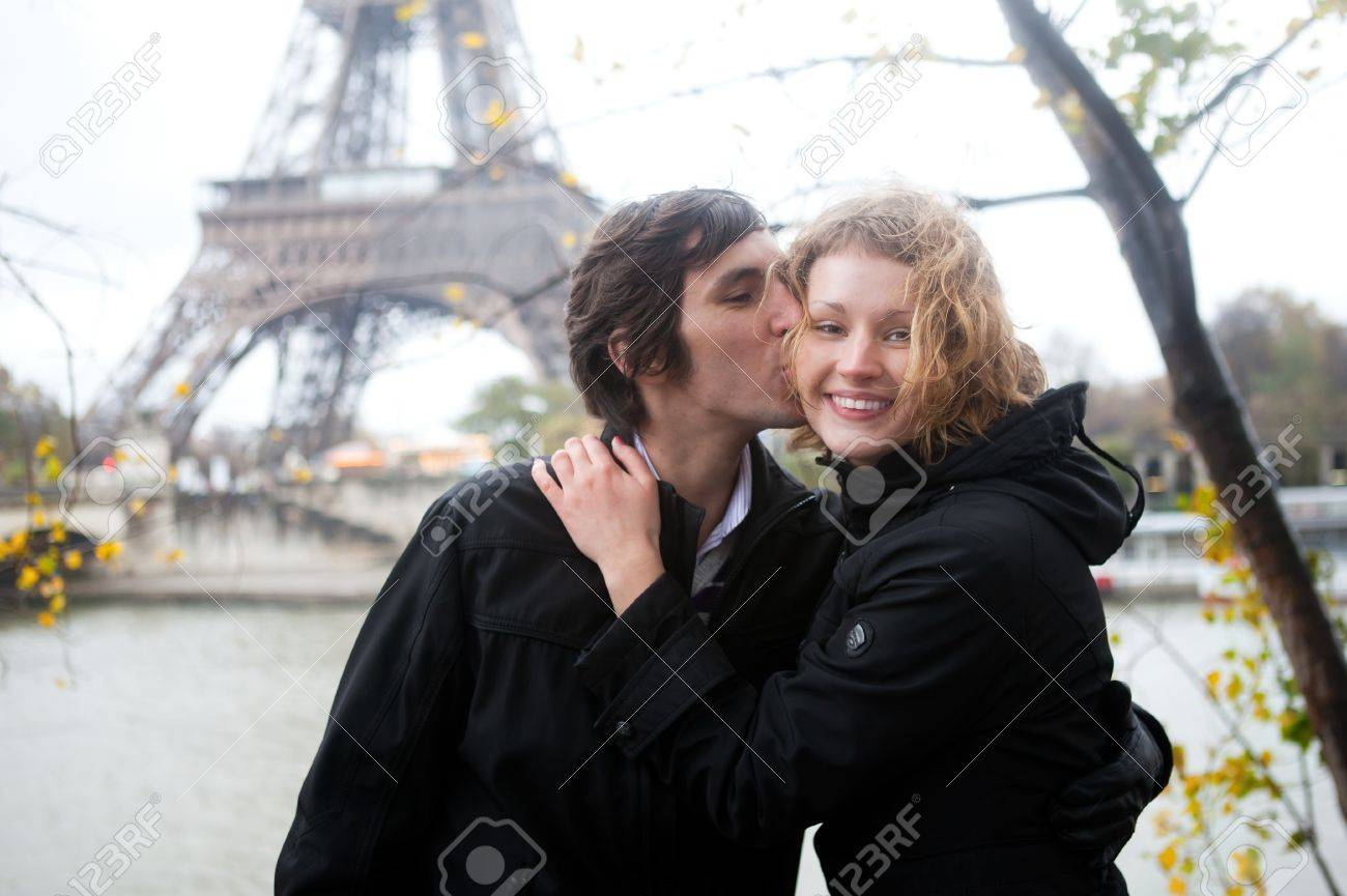 Happy couple in Paris at fall Stock Photo - 9896980