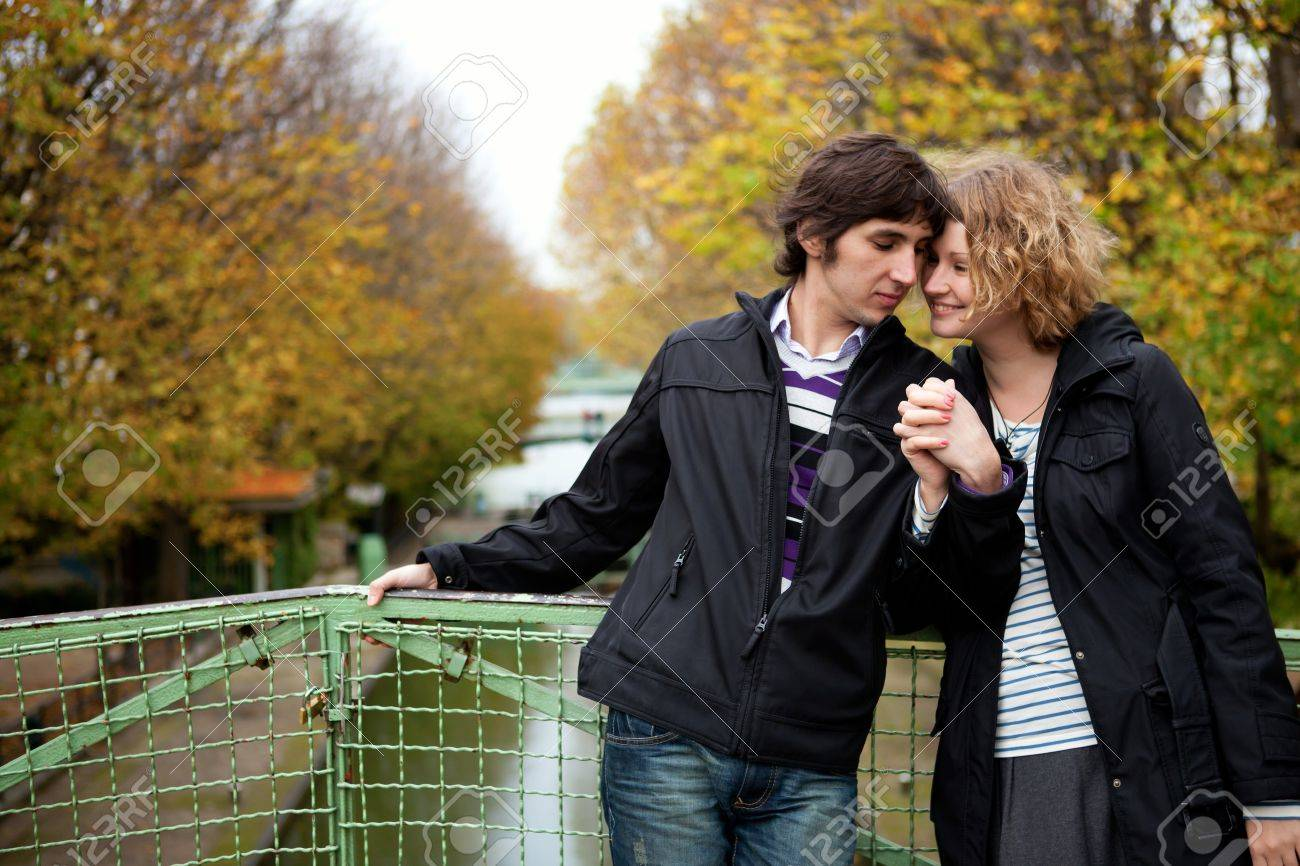 Dating couple in Paris on canal Saint-Martin Stock Photo - 9896992