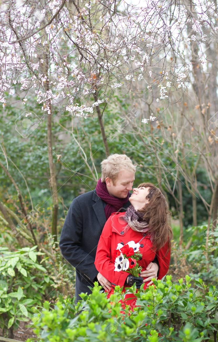 Romantic couple having a date in a beautiful garden Stock Photo - 12827395