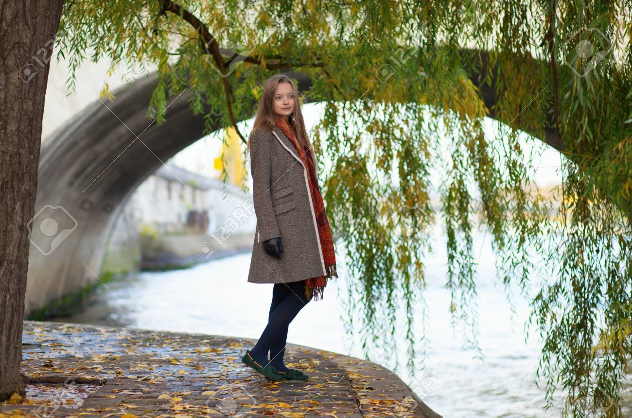 Beautiful young woman near a willow tree Stock Photo - 16521551