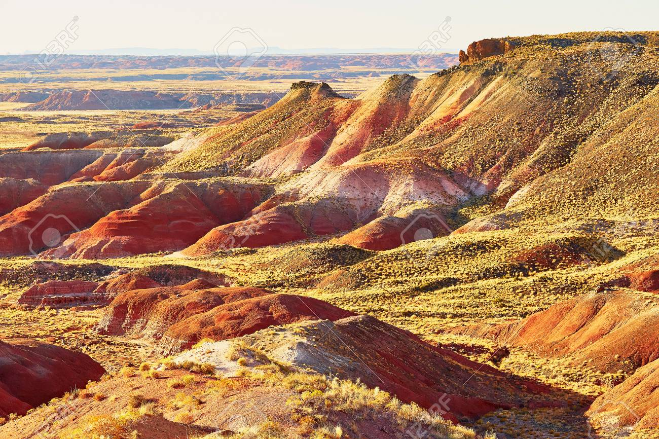 Scenic view of a landscape in the Painted Desert national park in Arizona,  USA Stock - Scenic View Of A Landscape In The Painted Desert National Park