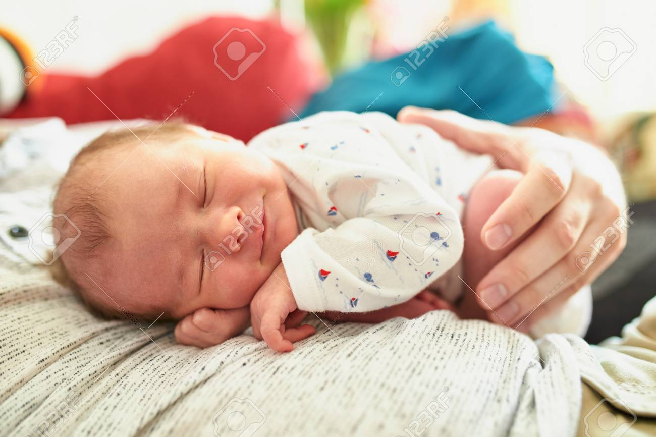 Adorable Newborn Baby Girl Sleeping On Her Father S Chest And Stock Photo Picture And Royalty Free Image Image 99611031