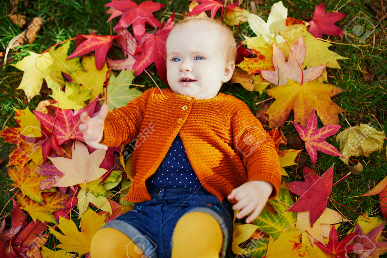 Adorable little girl in bright stylish clothes lying on the grass and playing with colorful autumn leaves on a fall day in park - 124409793