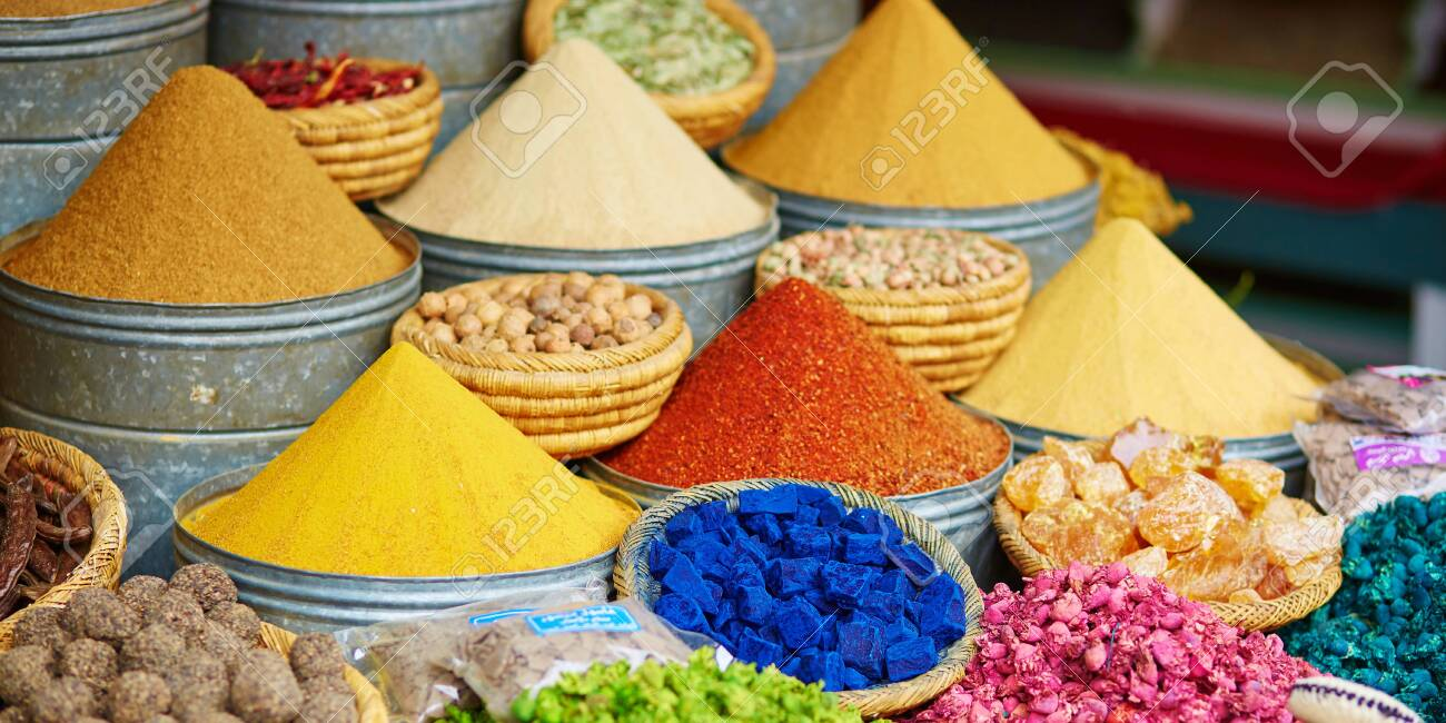 Selection of spices on a traditional Moroccan market (souk) in Marrakech, Morocco - 131685521
